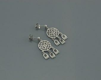 Silver Knight Shield Earring - 174
