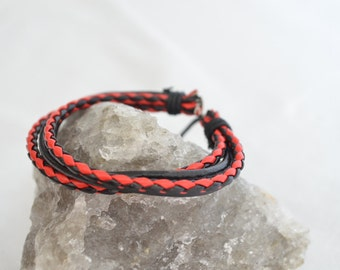 Red Black fashion jewelry leather bracelet braided for women and men