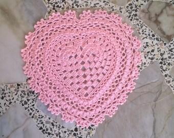 Doily Heart, Doily crochet,pink,heart