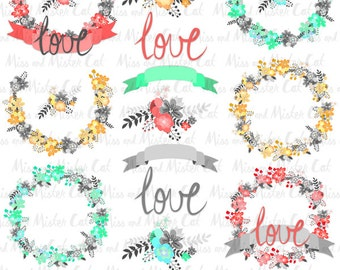 "Blue Floral Wreaths Cliparts. Red Floral vector graphics, Yellow Premium pack. Commercial use. Model ""Premium Floral Wreaths 3"""