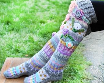 Thigh High Wool Socks, Hand knitted pastel socks, Pastel colour handmade socks, Over the knee socks, Unique womens socks, Hippie socks