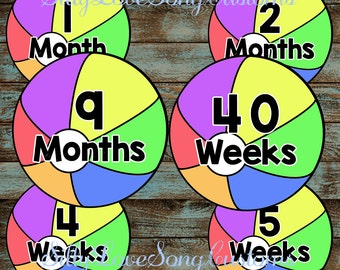 Beach Ball Printable Monthly Baby Stickers or Weekly Bump Stickers! DIGITAL FILES! 4inch Rounds
