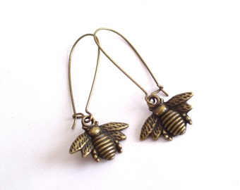 Bee Earrings, Brass Kidney Wires, Antiqued Brass Plated Bee Earrings, Bronze Bee Insect Jewelry, Pierced Dangle Earrings
