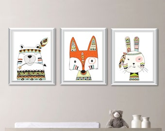 Tribal Woodland Animals Nursery Art. Baby Boy Nursery Art. Boy Nursery Decor. Tribal Animals Bedroom Art. Woodland Animal Print. (NS-786)