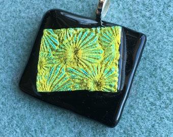 Dichroic fused glass pendants