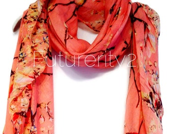Cherry Blossom Birds Peach Spring Summer Scarf / Autumn Scarf / Gifts For Her / Women Scarves / Accessories
