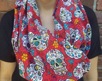 Sugar skull women's scarf