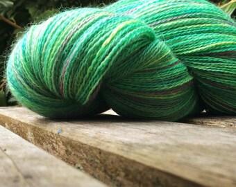 Handpainted Lace Weight 'Spearmint Rose' Alpaca / Mulberry Silk Knitting Yarn