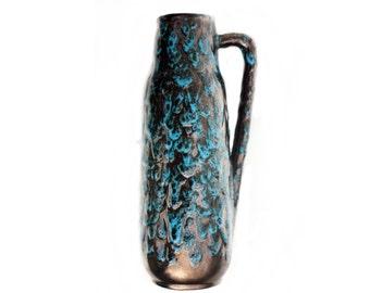 "Vintage Mid Century Vase ""West Germany"" Pottery Turquoise / Gold Lava"