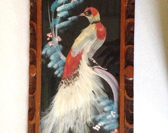 VINTAGE MEXICAN BIRD Picture Made With Authentic Feathers and Beautiful Carved Wood Frame!!!