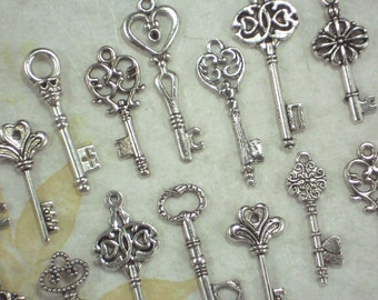 100 Skeleton Keys 10 small Styles Silver Tone Wedding Collection  *K49 -100