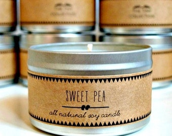 30% off // SWEET PEA Soy Candle. Natural Candle. Scented Candle. Eco Friendly. Vegan Friendly. Natural Gift. Custom Gift.