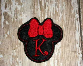 Set of 4 Initial Minnie Felties Personalized Girl Minnie Mouse Feltie Felt Embellishment Bow! Birthday Party Planner Mickey Mouse Felties