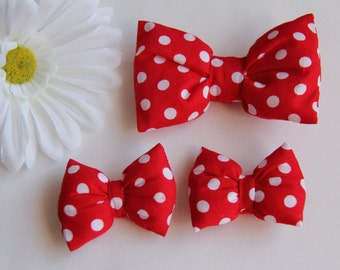 Red Hair Bow, Minnie Mouse Bow, Polkadot Hair Bow, Bow Hair Clip, Red Hair Clip, Adult Hair Bow, Girls Hair Clips, Red Baby Bows