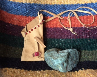 Deerskin Leather medicine/amulet/prayer/dream pouch/bag/necklace with red seed beads