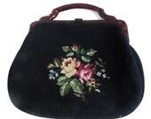 Vintage Needlepoint Handbag with Lucite Tortoiseshell Handle, 1940s Purse, Black Needlepoint Purse, Winter Handbag