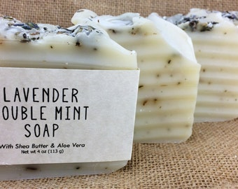 Lavender Double Mint Natural Soap featuring Aloe Vera and Shea Butter