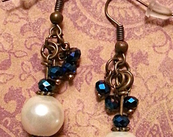 Glass Pearls & Crystals on Bronze Dangle Earrings