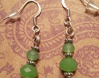 Jade Crystals on Silver plated Dangle Earrings