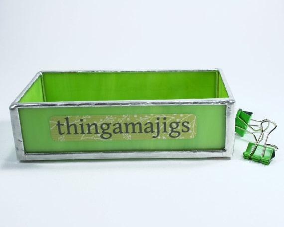 Green small glass tray desk organizer box funny office - Glass desk organizer ...