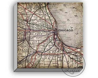 old chicago map print, rustic wall art, on canvas, wall art, chicago map on canvas, chicago wall art, 1900s maps, art print