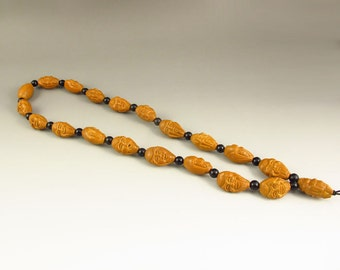 N507 Chinese Natural Olive Nut Carved Arhat Necklace