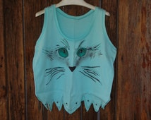 """Handcrafted air brushed """"cat lovers"""" tank top"""