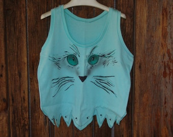 "Handcrafted air brushed ""cat lovers"" tank top"