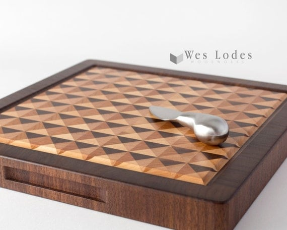 Amazing 3d wood end grain cutting board reversable with juice groove