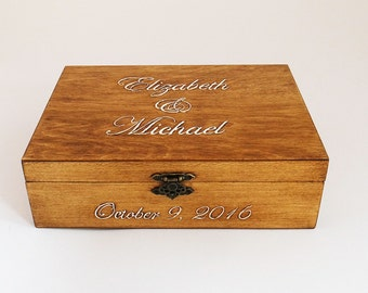 Wedding Guest Book Box, Personalized Guest Book Alternative, Card Box, Guest Book, Rustic Box, Custom Wood Wedding Box With 60 Hearts