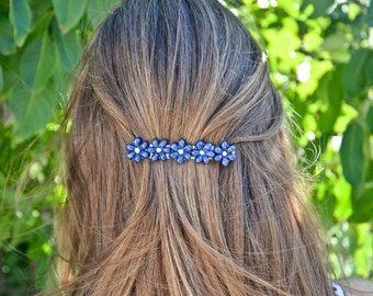 BARRETTES HAIR DAISIES Midnight blue/shaded blue, nature, gypsy, magic