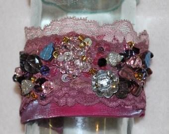 Fabric cuff bracelet,gem cuff bracelet,bohemian jewelry,textile bracelet cuff