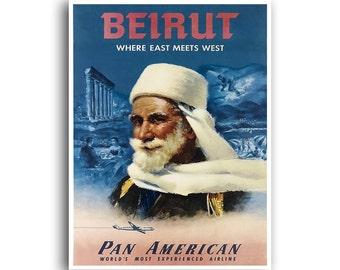 Beirut Gift Art Print Travel Poster Vintage Lebanon Home Decor (XR857)