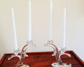 Double Candlestick, Double Glass Candleholder, Duiske Art Deco Candelabra Pair