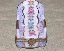 Royal Danube china floral tapestry armchair trinket ring box