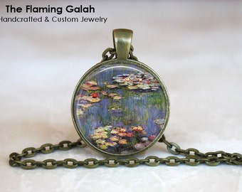 MONET WATER LILIES Pendant. Claude Monet Necklace. Water Lily Key Ring. Gift for Artist. Gift Under 20. Handmade in Australia (P1232)