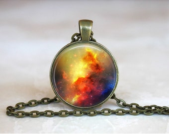 NEBULA NIGHT SKY Pendant • Red and Yellow Space • Galaxy • Universe • Celestial • Gift Under 20 • Made in Australia (P0127)