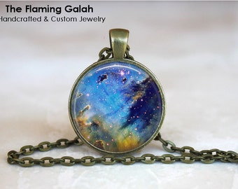BLUE NIGHT SKY Pendant •  Blue Outer Space •  Blue Universe •  Blue Nebula •  Blue Sky at Night • Gift Under 20 • Made in Australia (P0267)