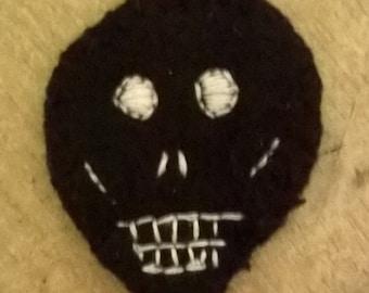 Black Skull Felt Badge