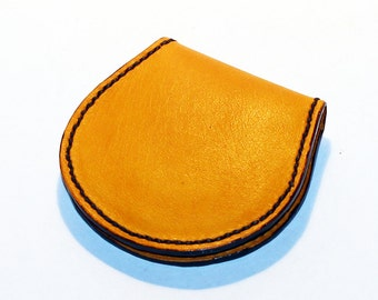 Leather coin wallet, yellow coin wallet, great leather item, yellow men's wallet, small coin wallet, gift for men, gift for women.