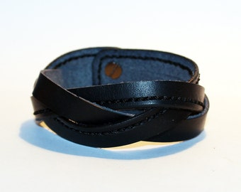 Black Leather Cuff Bracelet! Nice gift for women! Black wrist cuff! Bracelet for women! 100% handmade item!