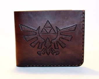 Legend of Zelda! Leather wallet, brown wallet, great leather item, brown men's wallet, credit card wallet, gift for men.
