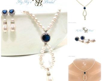 Something Blue, Vintage Style Jewelry, Bridal Jewelry Set, Wedding Jewelry Set, Necklace and Earring Set, Kate Middleton Jewelry