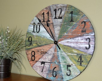 """24"""" Large Distressed Rustic Wood Wall Clock, multi-colored"""