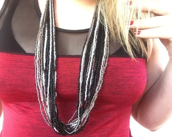 Handmade Black and White with Silver beaded necklace