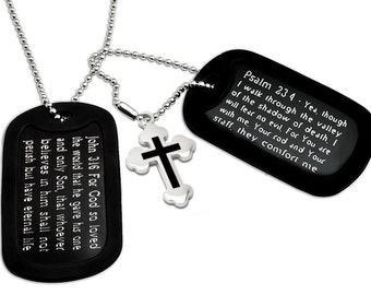 John 3 16 and Psalm 23-4 Bible Verse Inscription Military Style Dog Tag Necklace 24 Inches - DOJAN066