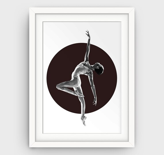 Ballerina Art Print Ballet Dance Dancing Studio Decor Black