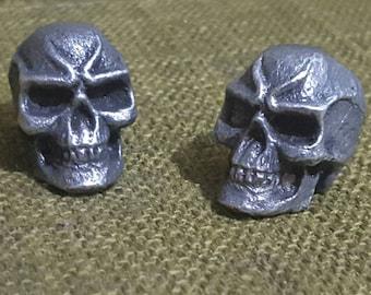 Mean Skull pewter Bead