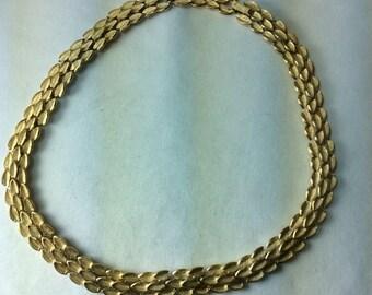 Vintage Trifari Choker Necklace. Brushed Gold Necklace