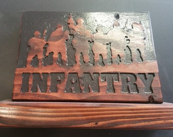 Wooden Infantry Desk Plaque - Free Shipping